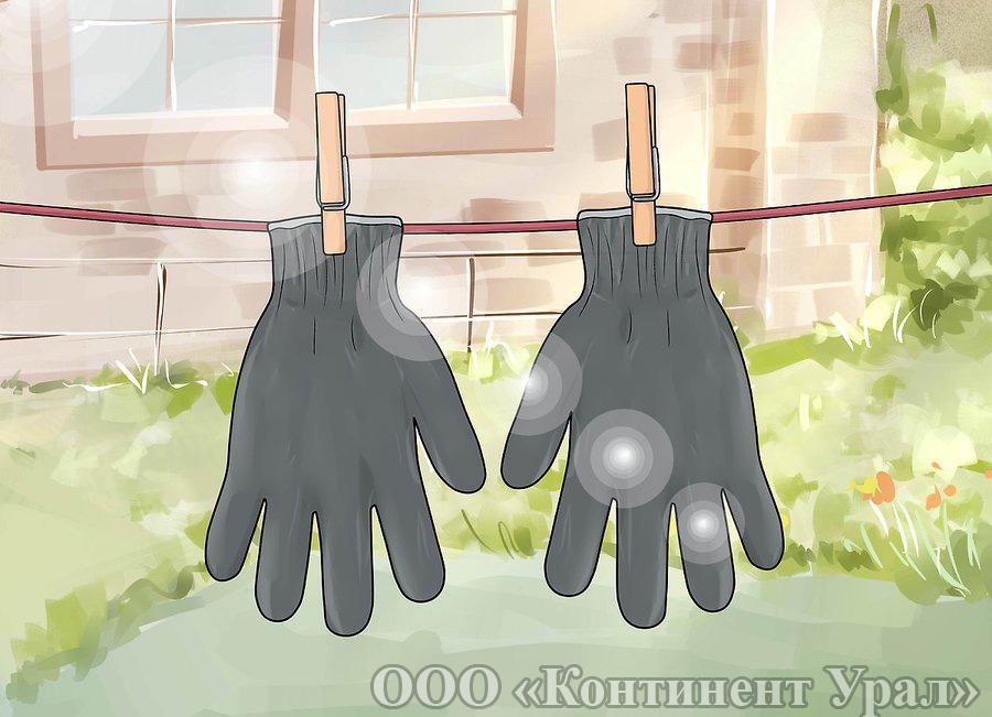 Перчатки садовые, сушка