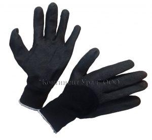 Перчатка нейлоновая черная с глубоким черным вспененным обливом