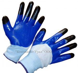 Перчатка нейлоновая с глубоким обливом, сине-черный цвет