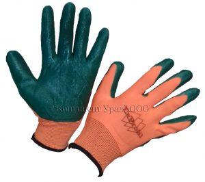 Перчатка оранжевый нейлон и зеленый облив