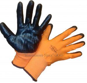 Перчатка оранжевый нейлон черный латексный облив