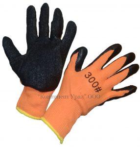 Перчатка оранжевая, утепленная, облитые черным вспененным латексом #300