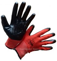 Перчатки нейлоновые, красный нейлон, черный облив