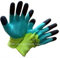 Перчатки салатовые с черными пальцами