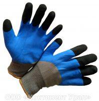Перчатка с черными пальцами, синим обливом и серым нейлоном