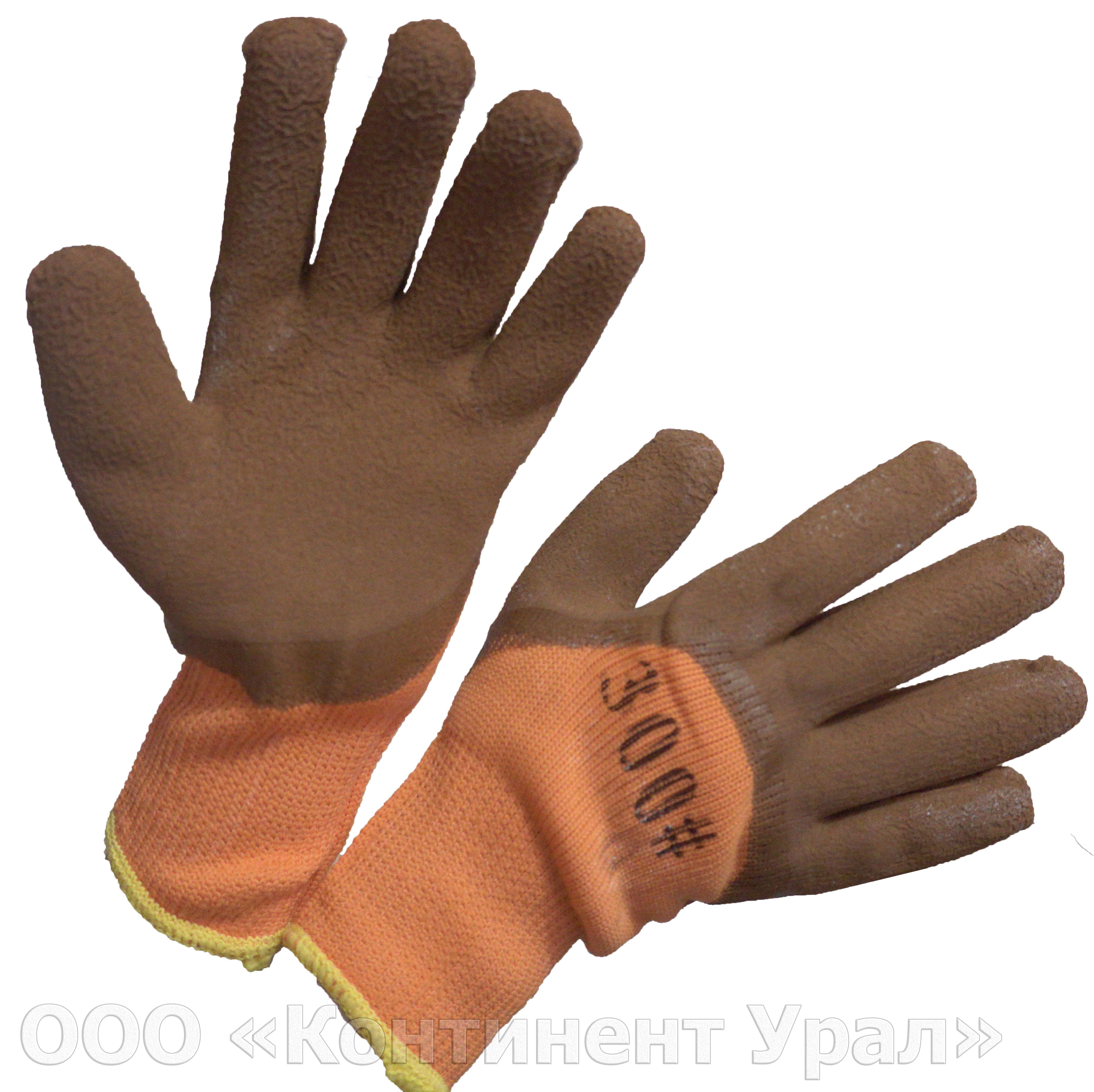 Перчатки #300 с глубоким вспененным обливом, цвет коричневый